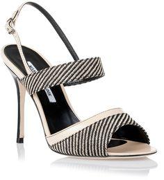 Manolo Blahnik Snayl beige woven fabric sandal