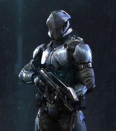 Dust 514 Caldari by RedRepublik armored robotic soldier, elite cyborg warrior, android fighter concept art character illustration design