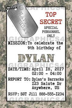 Army Birthday Invitation Party Military Marines