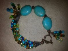 Turquoise and beads on copper!