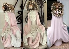 $95 SHABBY PINK Mother Mary JEWELED Crown French Paris Chic Immaculate Sacred Heart Prayer Petition Statue Blessed Virgin Bust Rhinestone Cross