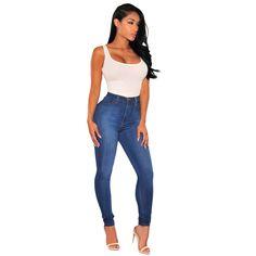 High waisted blue denim sculpt skinny jeans vintage fashion bottoms up pencil pants wash ealstic plus size women jeans butt lift