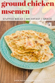 Msemen ~ Rghaif is a Moroccan stuffed flatbread.  Stuffing can be anything of your choice and the filling here is ground chicken.  These are a filling snack, breakfast and a great after school snack.  #MoroccanFlatbread #GroundChickenRecipes #MySpicyKitchen Best Lunch Recipes, Best Breakfast Recipes, Breakfast Snacks, Supper Recipes, Lunch Snacks, Appetizer Recipes, Favorite Recipes, Snack Recipes, Ground Chicken Recipes
