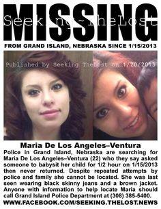 Maria De Los Angeles-Ventura (22) missing since 1/15/2013 from GRAND ISLAND, NB