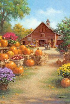 Image Halloween, Halloween Art, Autumn Scenes, Country Scenes, Fall Pictures, Autumn Art, Country Art, Country Life, Fall Harvest