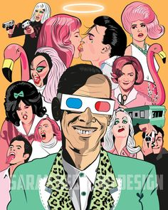 John Waters Tribute Poster  by SarahHedlundDesign on Etsy