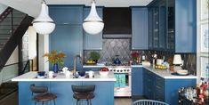 best small kitchen ideas Finish Kitchen Cabinets, Blue Cabinets, Painting Kitchen Cabinets, Kitchen Paint, Kitchen Decor, Kitchen Ideas, Kitchen Styling, Kitchen Inspiration, Home