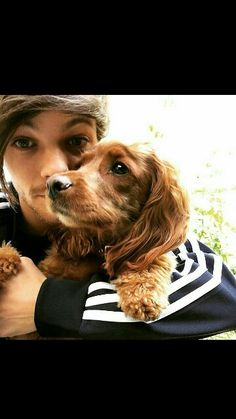 Louis and dog ❤ sweeeeeeeet #louis #louistomlinson #dog