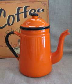 Orange and Black Retro Enamel Coffee Pot by dewdropdaisies, $28.00