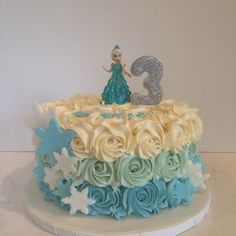 frozen themed buttercream ruffle cake - Google Search