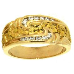Custom Alaskan Gold Nugget and Diamond Wedding Band. Style#: GRW314 - Gold Nugget Jewelry by Alaskan Gold Rush Fine Jewelry - Fairbanks, Alaska - 907-456-4991 - www.goldrushfinejewelry.com