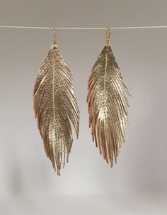 Metallic gold LEATHER feather earrings leather earrings lightweight dangle earrings leather feather earrings leather feathers