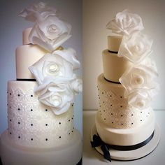 Wedding cake whit wafer paper flowers and lace