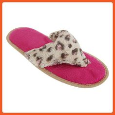 Womens/Ladies Animal Print Supersoft Toe Post Flip Flop Slippers (US 6) (Beige Leopard) - Slippers for women (*Amazon Partner-Link)