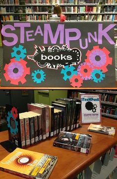 Steampunk book display (I like the bookends). Good library ideas for teens generally.