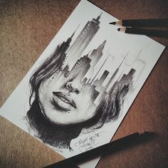 Secrets Of Drawing Realistic Pencil Portraits - A quick sketch?… (Cool Crafts Awesome) Secrets Of Drawing Realistic Pencil Portraits - Discover The Secrets Of Drawing Realistic Pencil Portraits Cool Art Drawings, Amazing Drawings, Cool Sketches, Easy Drawings, Drawing Sketches, Sketch Art, Drawing Art, Creative Sketches, Surrealism Drawing