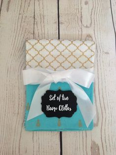 Burp Cloths - Handmade - Turquoise and Gold- Palm Trees, Pineapples, Chevron and Quatrefoil