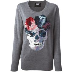 MARKUS LUPFER sequin skull jumper (625 AUD) ❤ liked on Polyvore featuring tops, sweaters, shirts, jumpers, merino wool shirt, grey sweater, skull sweater, sequin sweater and grey shirt