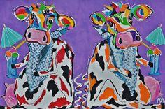 Mirthe Kolkman, kunstenaar Mir, biedt haar koeienschilderijen te koop aan via KUNSTmarktplaats.nl. #kunst #koeienkunst #schilderij