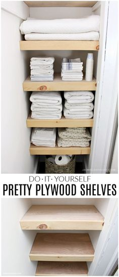 A DIY tutorial for making easy and pretty plywood shelves for your linen closet. Make your closet organized, functional and user friendly with shelves.