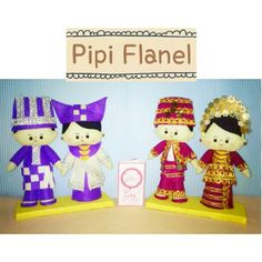 Hi, this cute feltdoll is wearing Minsngkabau traditional wedding costume, made by Pipi Flanel.. Wanna see our feltdolls collection? Please visit our website at www.pipiflanel.com thank you :)
