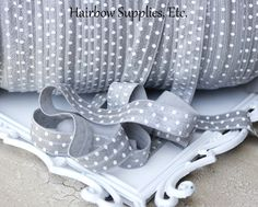 Gray Polka Dot Fold Over Elastic 5 yd 5/8 by HairbowSuppliesEtc, $3.00