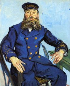 Postman Joseph Roulin - Vincent van Gogh. (Personal note from LRB: I accidentally backed into this painting when it was on display at the Kröller- Müller Museum in Holland in 1990. I was so embarrassed when the alarm went off and the security guards came running! It was purely an accident, so I played dumb and slowly.walked.away.)
