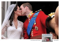 William and Kate - Famous Historical Photo Turned Into Selfie! The images were created for the Cape Times, a South African newspaper, by advertising agency Low Cape