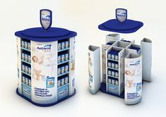 Floor Display, exhibitors, modular gondola and palette island concept for Aptamil Baby show at the retail Exhibition Display Stands, Exhibition Booth Design, Exhibit Design, Pos Design, Retail Design, Stand Design, Rak Display, Display Shelves, Print Advertising