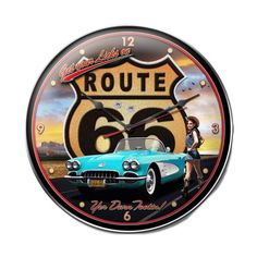 Route 66 Girl Clock