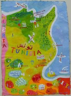 Postcards Of Nations Tunisia Map Maps Pinterest - Tunisia earth map