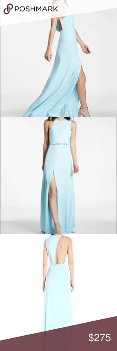 Minimalist crepe gown, asymmetric cut, draped back 90% Polyester, 10% Spandex Imported Dry Clean Only Side zip Lined Halston Heritage Dresses Prom