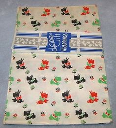 vintage Gift Wrap wrapping Paper Tissue type 1940s Scottie Dog 5 sheets + (01/10/2013)