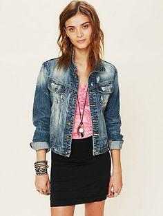 jean jacket w/ pencil skirt