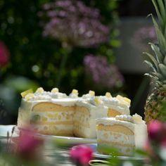 Ananas abtropfen lassen, den Saft auffangen. Backofen auf 180°C vorheizen. Für den Biskuit Eier schaumig schlagen, Zucker einrieseln lassen....