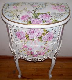 Antique French Demi End Table ~ Handpainted by Catherine Risi.