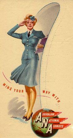 Australian National Airways poster, circa 1949.