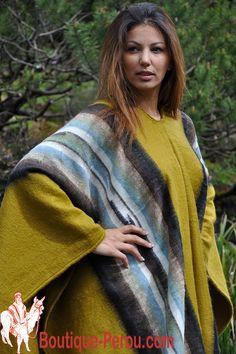 Poncho des Andes couleur noir indien. Magnifique poncho à rayures en laine  vierge d  d25dd447b828