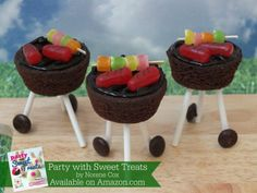 Brownie grill bites, grill cake pops, BBQ cake, Party with Sweet Treats book by Norene Cox