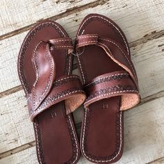 New Brown leather sandals New cute design trim on the edges Shoes Sandals