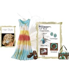 Rainbow, created by prettycoloradomama on Polyvore    Turquoise bracelet and Coral Opal ring at http://www.silvertribe.com/