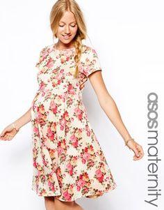 Image 1 ofASOS Maternity Textured Skater Dress In Vintage Floral Print