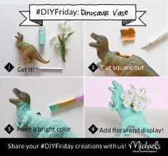 DIYFriday Quirky Dino Vase using a plastic dinosaur, X-acto knife, paint & flowers