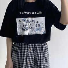 Anime Boku No Hero Academia T Shirt Bakugou Midoriya Iida My Hero Academia School T Shirt Cosplay Costume Cartoon T Shirt Girls Grunge Outfits, Tumblr Outfits, Edgy Outfits, Anime Outfits, Cool Outfits, Fashion Outfits, Fashion Quiz, 90s Grunge, Modest Fashion