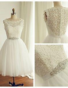 A-line+Wedding+Dress+-+Ivory+Tea-length+Bateau+Lace+/+Tulle+–+GBP+£+69.99