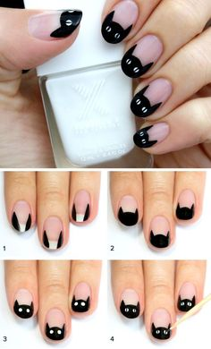 DIY Cat Nail Art from Lulu's. For more Halloween Nail Art go here. For the eas… DIY Cat Nail Art from Lulu's. For more Halloween Nail Art go here. For the easiest scary nails ever: DIY Claw Nail Art by honeymunchkin at beautylish here. Diy Claw Nails, Diy Nails, Cute Nails, Fancy Nails, Nagel Stamping, Stamping Nail Art, Cat Nail Art, Nail Art Diy, Animal Nail Art