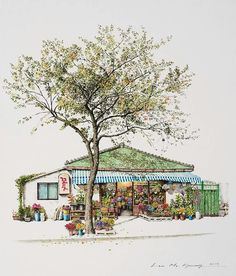 (Korea) A disappearing small flower store by Lee Me Kyeoung ). ink on paper with a pen use the acrylic. Colorful Art, Installation Art, Korean Art, Art, Pictures, Building Painting, Watercolor Illustration, Scenery, Building Art