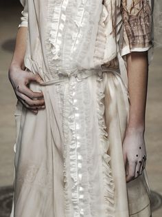 Slouchy shirt dress with ruffled ribbon trim and distressed fabrics - garment design details; fabric manipulation // Comme des Garçons