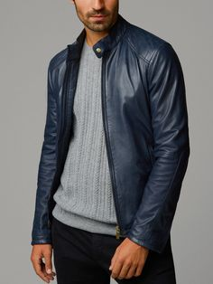BLUE NAPPA LEATHER JACKET WITH TOPSTITCHING ON THE SHOULDERS