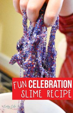 You'll love the ease and simplicity of this homemade Celebration slime recipe! Full of color and glitter, it's certain to be a crowd pleaser. Plus, it's great for summer birthdays, crafts or of July fun! Kindergarten Science Activities, Indoor Activities For Kids, Stem Activities, Elementary Science, Preschool Learning, Learning Activities, Homemade Slime, Diy Slime, Craft Projects For Kids